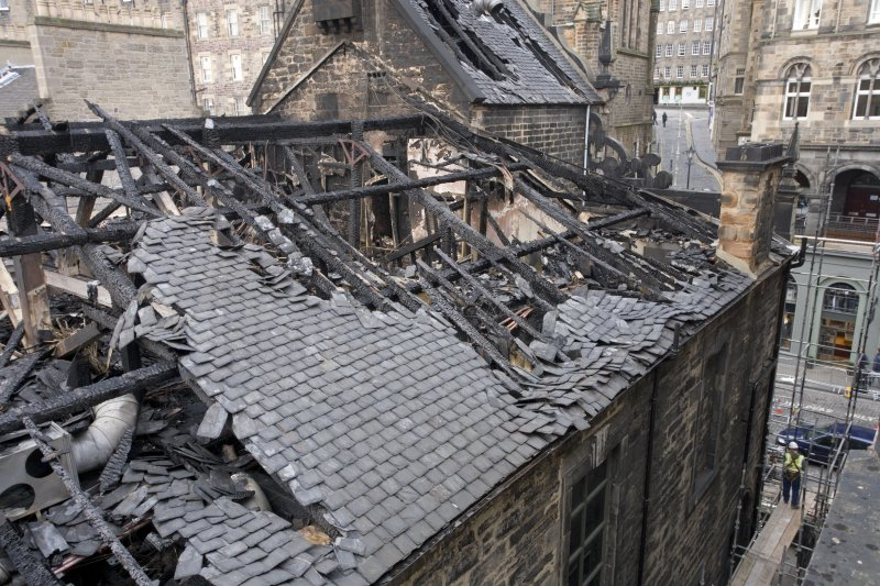 View of roof damage on east elevation