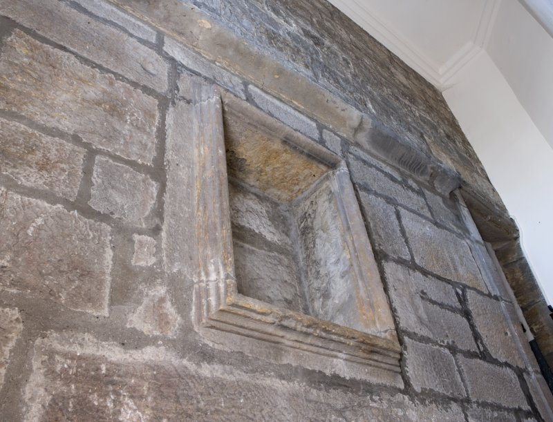 Interior. Detail of former exterior wall showing niche