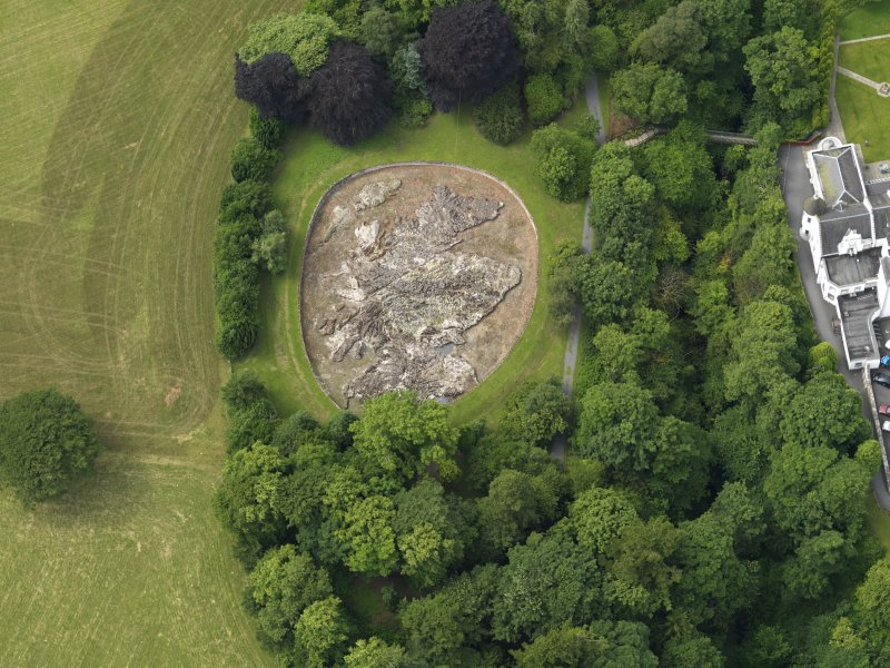Black Barony Castle.  Oblique aerial view centred on the relief map of Scotland, taken from the E.