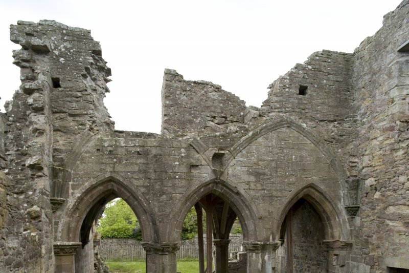 Internal view of the E end of chapter-house taken from the E, showing the arcading of the vestibule and wall of dormitory over.