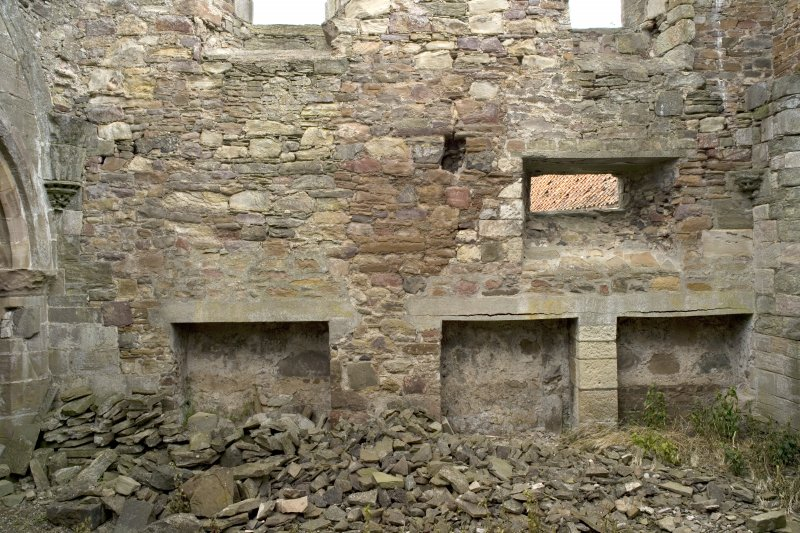 Chapter-house, E end, N wall, view of lower level from S