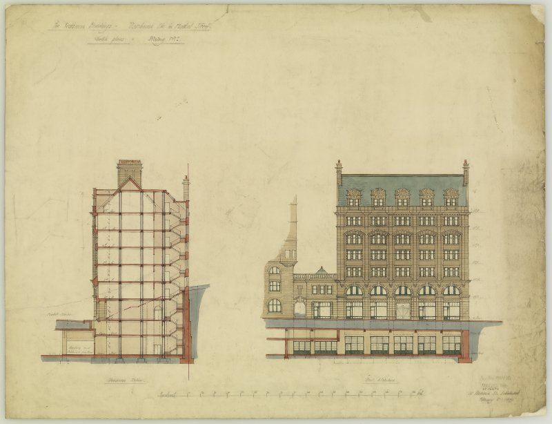 Edinburgh, 20-36 North Bridge, The Scotsman Buildings.  Elevation and section of warehouse. Titled: 'The Scotsman Buildings   Warehouse etc. in Market Street'. Insc: 'Sketch Plans'.   'Drawing No.2'.  ...