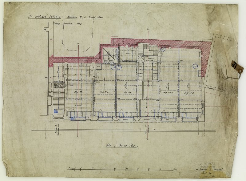 Edinburgh, 20-36 North Bridge, The Scotsman Buildings.  Ground floor plan of warehouse. Titled: 'The Scotsman Buildings   Warehouse Etc In Market Street'. Insc: 'Working Drawings No.3'.   '35 Frederic ...