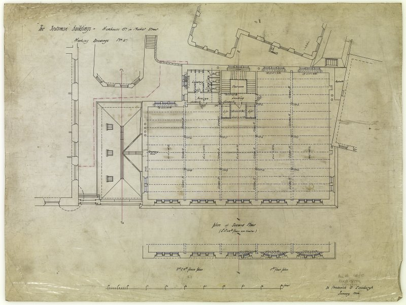 Edinburgh, 20-36 North Bridge, The Scotsman Buildings.  Second floor plan of warehouse. Titled: 'The Scotsman Buildings   Warehouse Etc In Market Street'. Insc: 'Working Drawings No.5'.   '35 Frederic ...