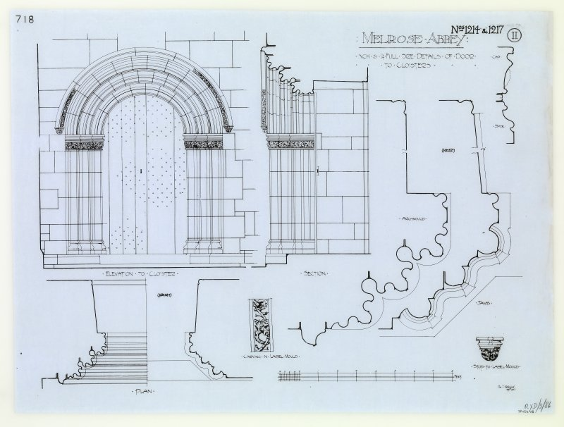 Drawing showing detail of cloister door.