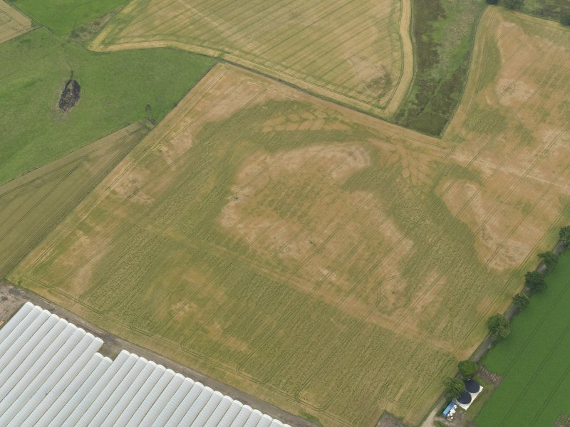 Oblique aerial view centred on the cropmarks of the rig, taken from the W.