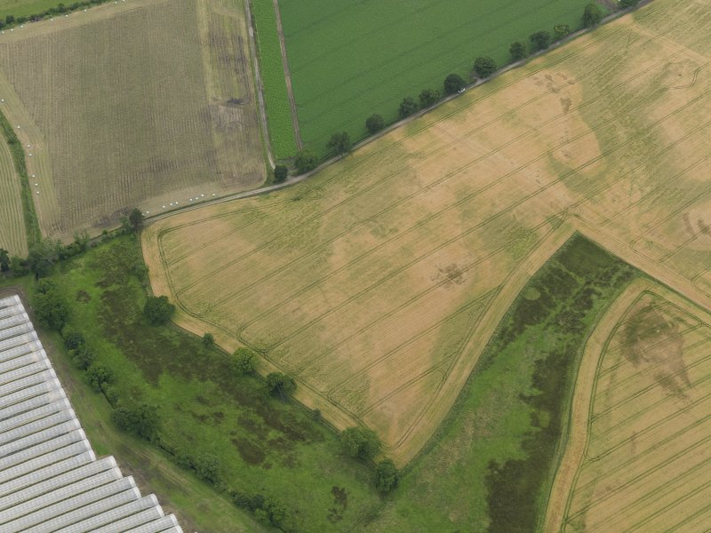 Oblique aerial view centred on the cropmarks of the souterrains, taken from the E.