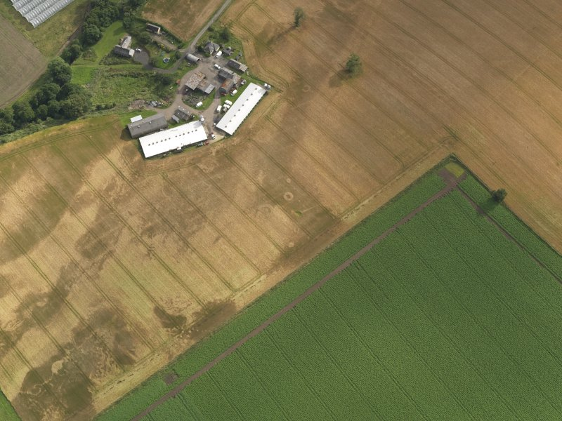 Oblique aerial view centred on the cropmarks of the pits, henge, ring ditch and rig, taken from the NNE.
