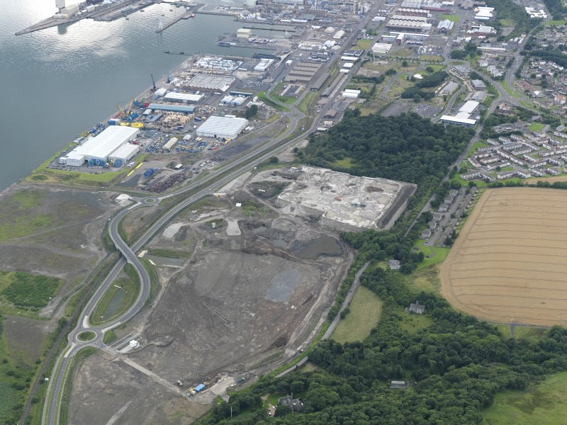 General oblique aerial view of Rosyth Europarc and HM Dockyard, taken from the ESE.