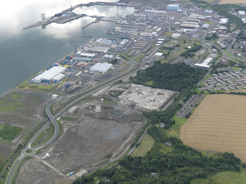 General oblique aerial view of Rosyth Europarc and HM Dockyard, taken from the E.