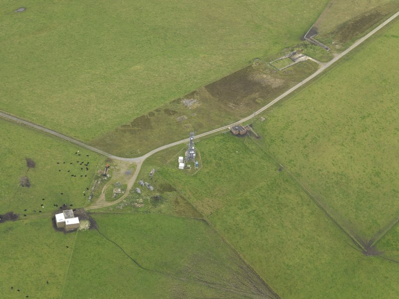 Oblique aerial view centred on the radar station, taken from the NNW.