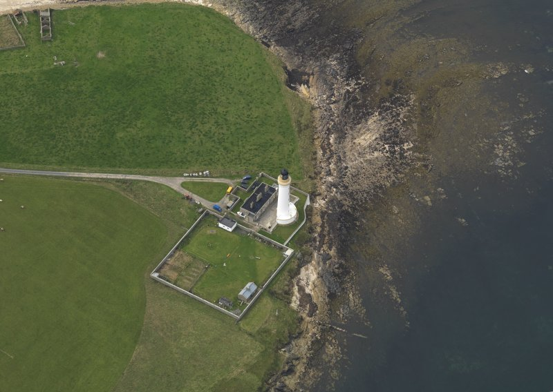 Oblique aerial view centred on Hoy Sound High lighthouse, taken from the South East.
