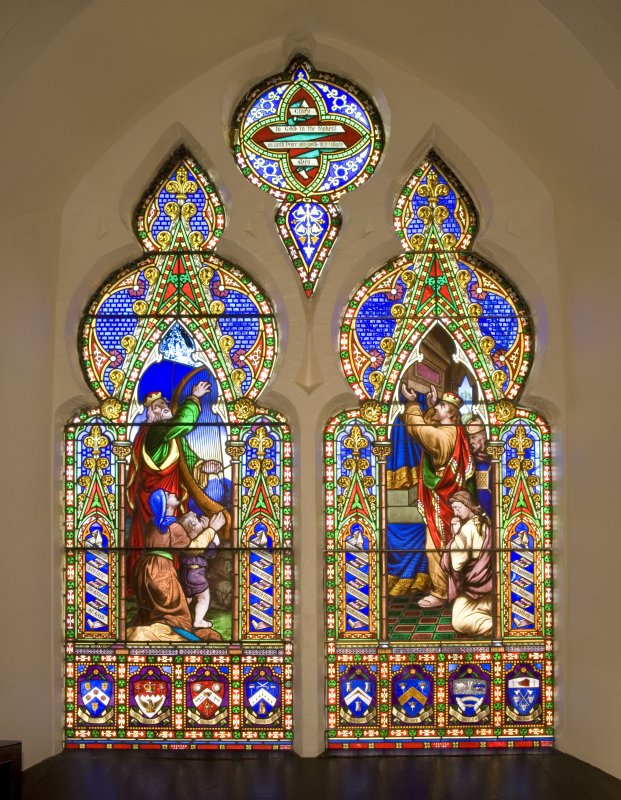 Interior. Stained glass window. Detail
