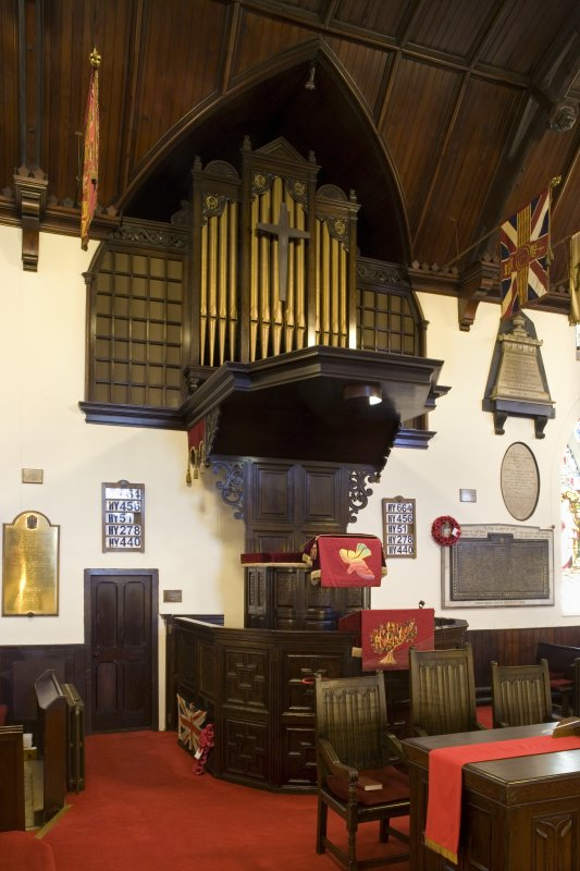 Interior. Pulpit and organ. View from NNE