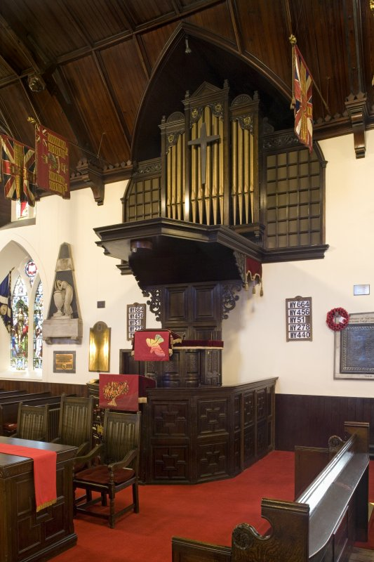 Interior. Pulpit and organ. View from NNW