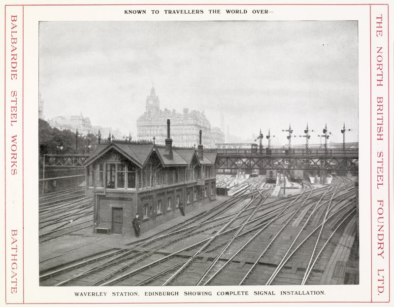 View of Waverley Station, Edinburgh showing complete signal installation from North British Steel Foundry Ltd, Castings, page 23