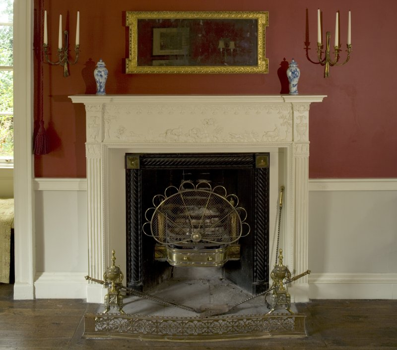 Interior. Ground floor, dining room, detail of fireplace