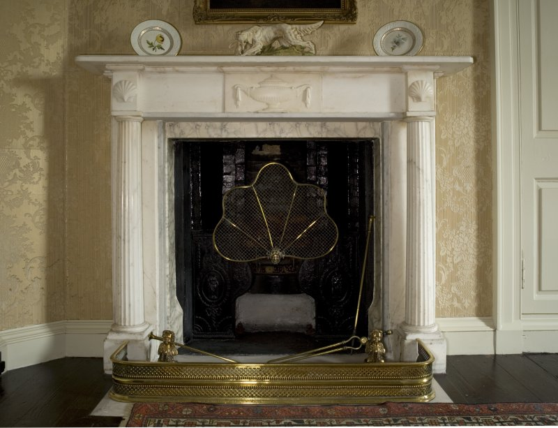 Interior. 1st floor, master bedroom, detail of fireplace