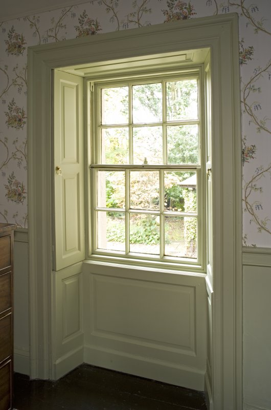 Interior. 1st floor, N bedroom, detail of S window