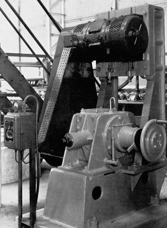 Copy of photograph of paper making machine (no.6), 'Leith Walk' patent vertical type Shake Motion and is driven through Vee ropes by a variable speed commutator motor, from the JB&S Machine 161 catalogue, James Bertram and Son Ltd, Leith Walk, Edinburgh, circa 1953. The catalogue describes and illustrates some of the features of the No 161 machine 'recently installed at the well known Mill of Guard Bridge Paper Co Ltd, Fife , Scotland designed with the co-operation of the Mill Staff especially for the economical production of the highest quality papers...'