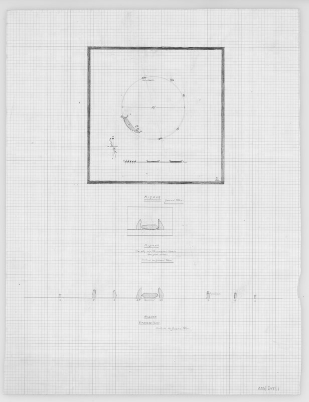 Plan & Section, Midmar Kirk recumbent stone circle