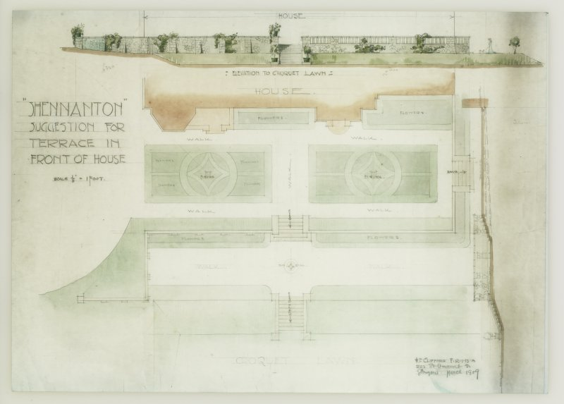 Plan, section and elevation of terrace.