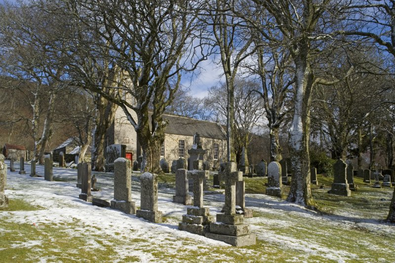 View looking N across the graveyard towards the Parish Church of Ettrick & Buccleuch