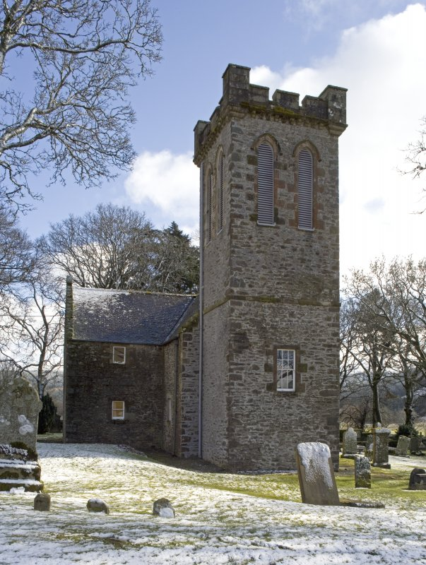 View of the west tower of the Parish Church of Ettrick & Buccleuch, taken from WNW