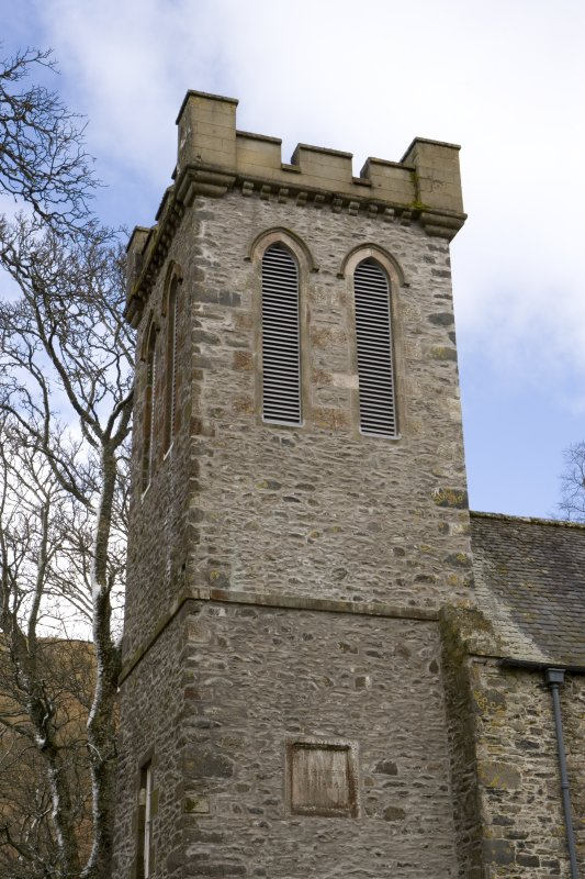 Detail of the upper west bell tower at Parish Church of Ettrick & Buccleuch