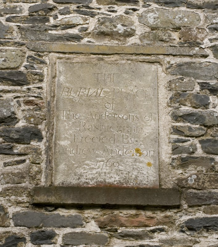 Detail of commemorative stone dated 1760, which has been re-set into the south wall of the Parish Church of Ettrick & Buccleuch