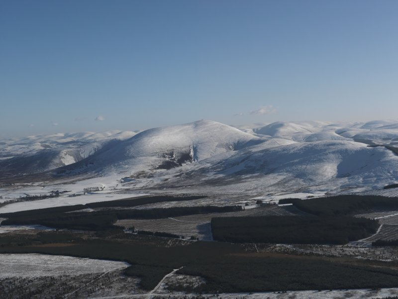 General oblique aerial view of snow-covered Tinto Hill and the Souther Uplands, taken from the NW.