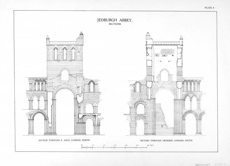 Jedburgh Abbey Section through the S aisle looking N and Section through the crossing looking S.