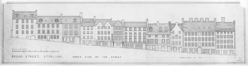 Elevation of N side of Broad Street, including part demolished in 1926.