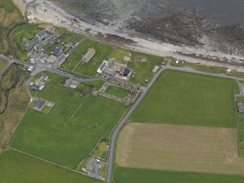 Oblique aerial view centred on the Bishop's Palace, taken from the ENE.