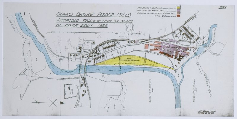 Copy of photograph of Guard Bridge Paper Mills proposed reclaimation on shore of River Eden