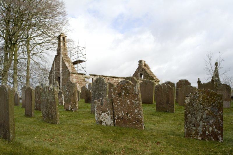 View across graveyard to Dalton Old Parish Church, taken from SSW