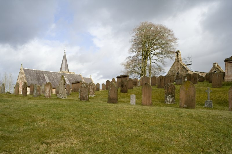 View looking NE across graveyard of Dalton Old Parish Church, showing the ruinous 18th century church in relation to its late-19th century successor
