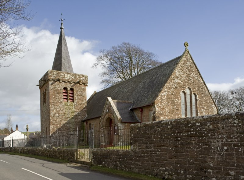 View of Dalton Parish Church from WNW, showing N elevation and belltower
