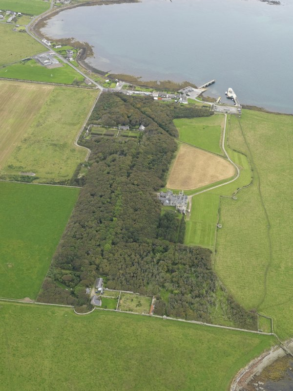 General oblique aerial view centred on the country house and policies, taken from the WSW.