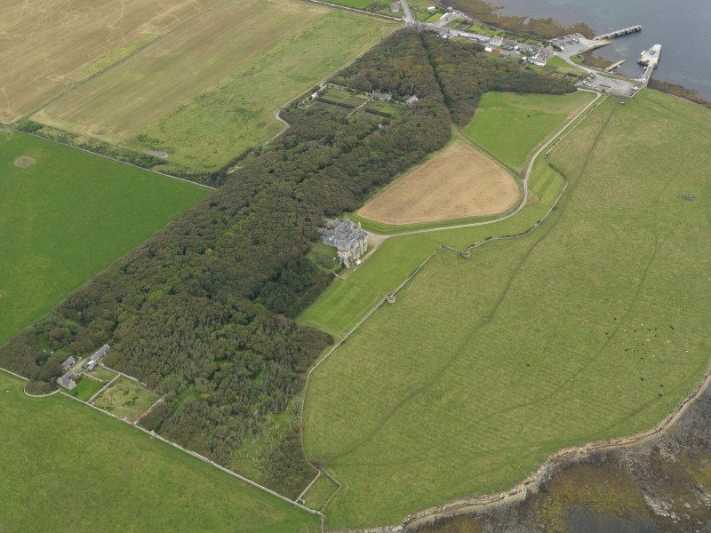 General oblique aerial view centred on the country house and policies, taken from the SW.