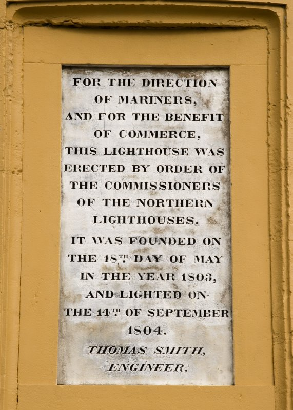 Detail of commemorative plaque to the completion of the New Lighthouse, Inchkeith from SSW inscribed ''For the direction of mariners, and for the benefit of commerce, this Lighthouse was erected by or ...