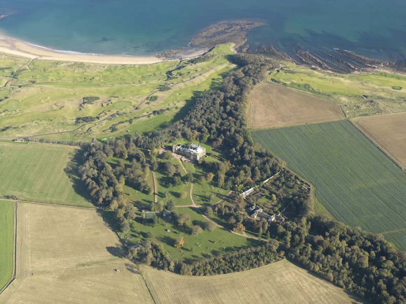 General oblique aerial view of the country house and policies, taken fromt he SW.