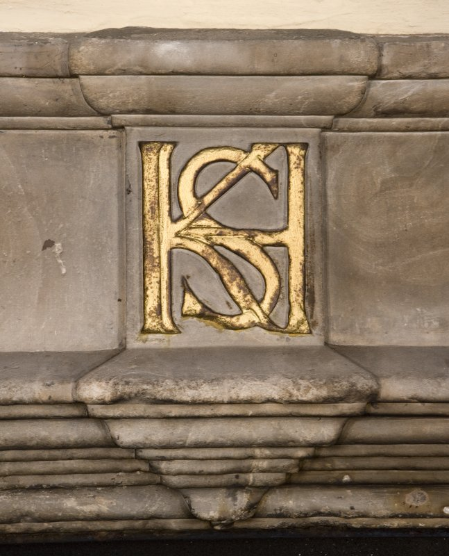 Hamilton House. Ground Floor main hall, detail of fireplace, detail of initials