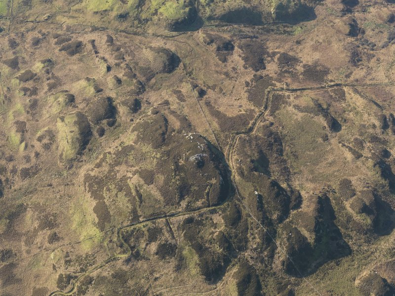 Oblique aerial view centred on the remains of the fort and possible cairn on Ranachan Hill, taken from the NE.