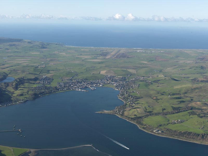 General oblique aerial view of Campbeltown looking across the bay, taken from the ENE.