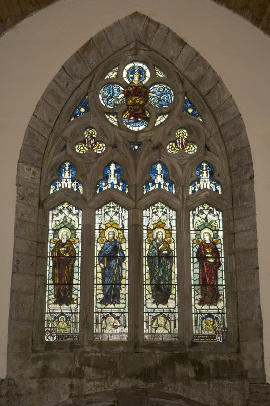 Interior. View of stained glass window on S wall