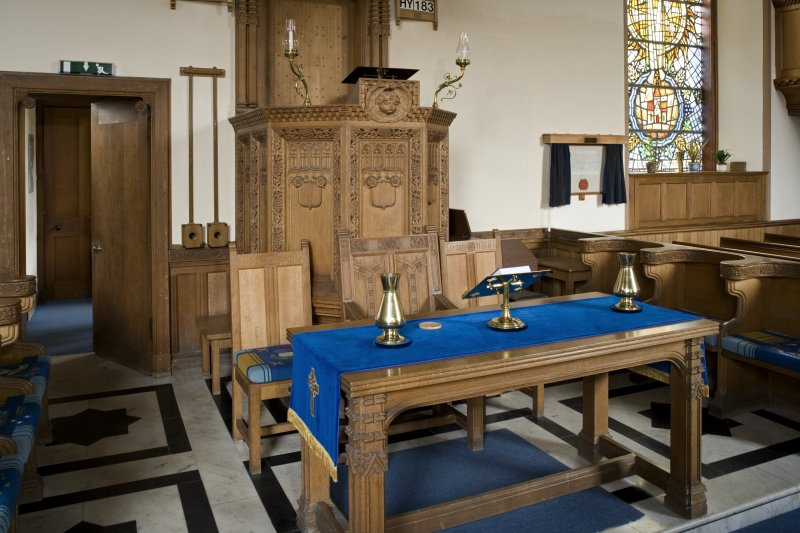 Interior. View of pulpit and altar table from SW