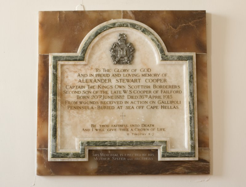 Interior. Detail of commemorative plaque to Alexander Stewart Cooper