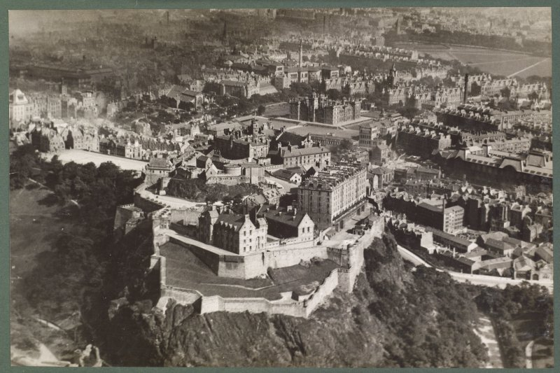 Oblique aerial view of Edinburgh Castle looking south east.