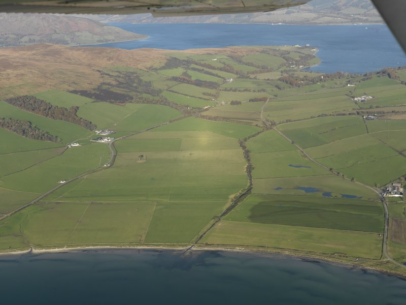 General oblique aerial view of Ettrick Bay looking towards Ardmaleish Point, taken from the SW.
